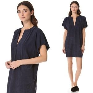 Vince Leather Tunic Dress in Navy